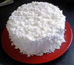 Chocolate cake with coconut cream frosting.